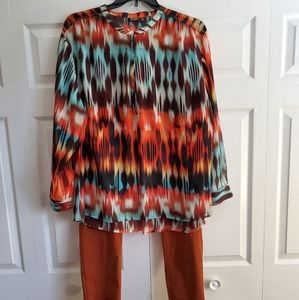 A.n.a Multicolored Lightweight Blouse Plus Size